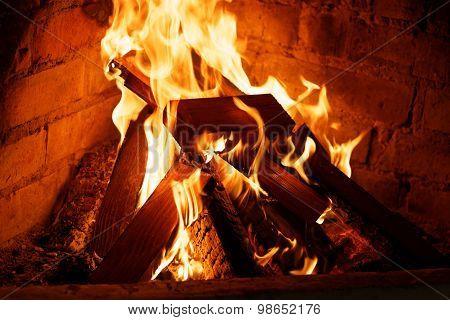 Closeup Fire In A Hearth