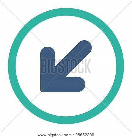 Arrow Down Left flat cobalt and cyan colors rounded raster icon