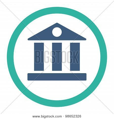Bank flat cobalt and cyan colors rounded raster icon