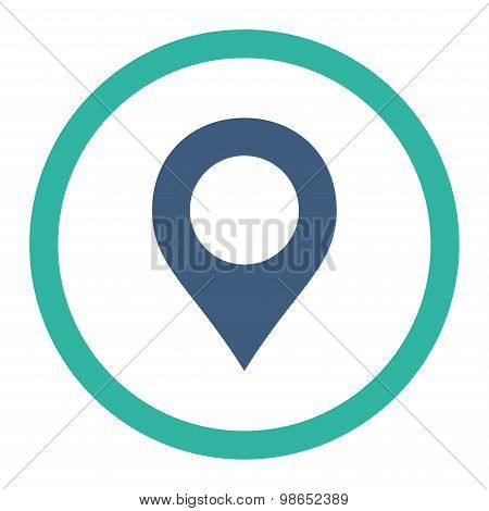 Map Marker flat cobalt and cyan colors rounded raster icon