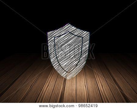 Safety concept: Shield in grunge dark room