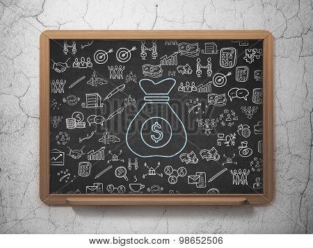 Finance concept: Money Bag on School Board background