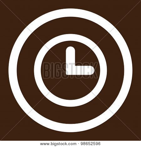 Clock flat white color rounded raster icon