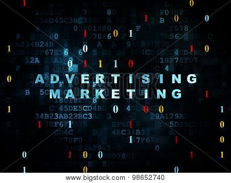 Finance concept: Advertising Marketing on Digital background