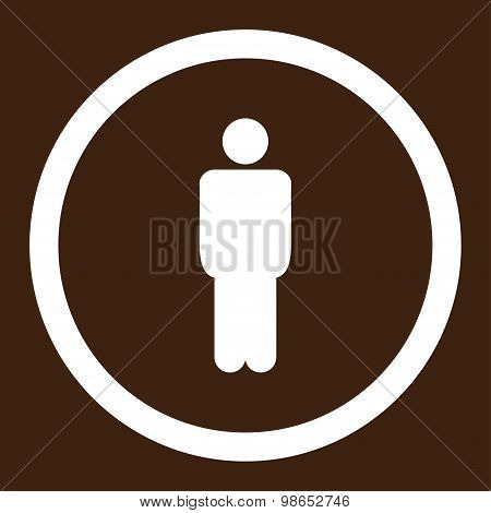 Man flat white color rounded raster icon