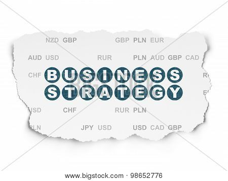 Finance concept: Business Strategy on Torn Paper background