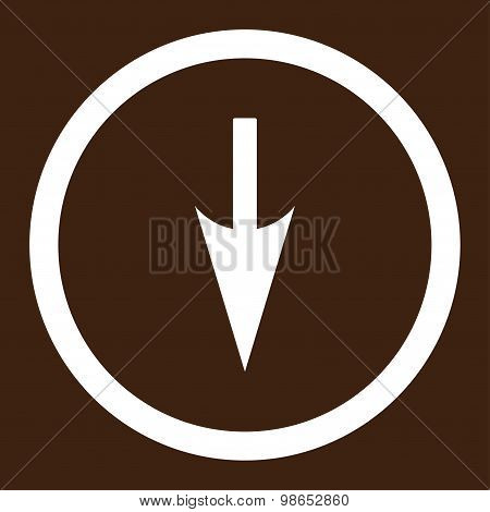 Sharp Down Arrow flat white color rounded raster icon