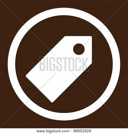 Tag flat white color rounded raster icon
