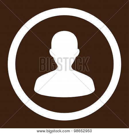 User flat white color rounded raster icon