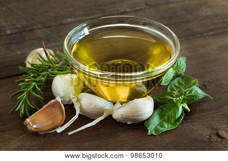 Olive Oil, Herbs And  Garlic
