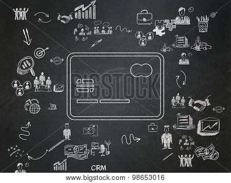 Business concept: Credit Card on School Board background