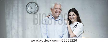 Elder Man With Female Practitioner
