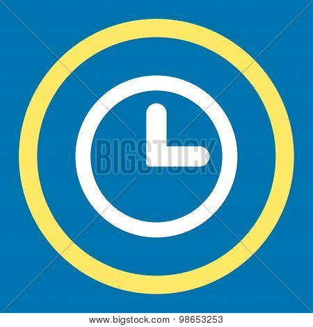 Clock flat yellow and white colors rounded raster icon
