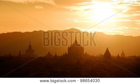 Panoramic Landscape View Of Golden Sunset In Bagan, Myanmar