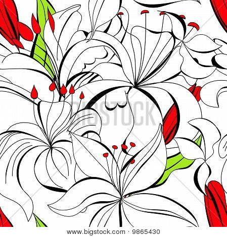 Seamless Wallpaper With White Lily Flowers