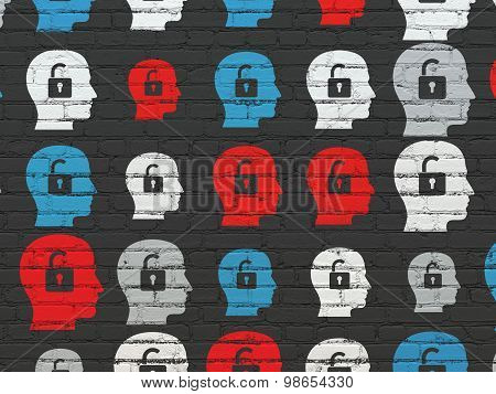 Finance concept: Head With Padlock icons on wall background