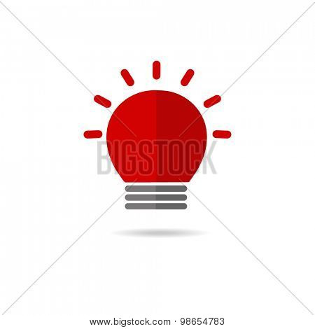 Sirene red flasher on a white background. Alarm, police, ambulance and sequrity logo sign. Vector logotype.
