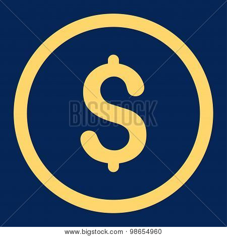 Dollar flat yellow color rounded raster icon