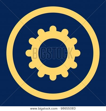 Gear flat yellow color rounded raster icon