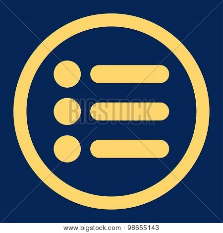 Items flat yellow color rounded raster icon