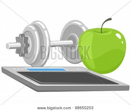Dumbbells, Apple And Scales