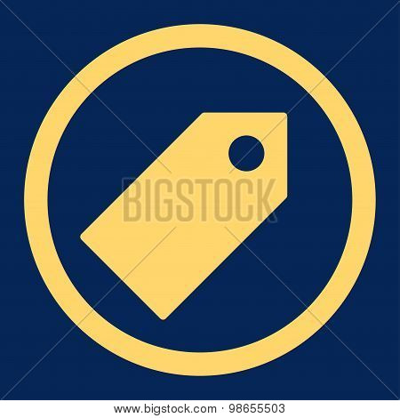 Tag flat yellow color rounded raster icon