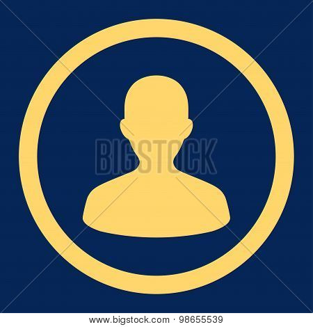 User flat yellow color rounded raster icon