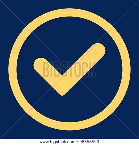 Yes flat yellow color rounded raster icon