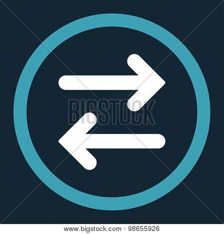 Flip Horizontal flat blue and white colors rounded raster icon