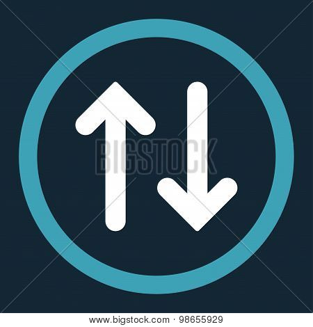 Flip flat blue and white colors rounded raster icon