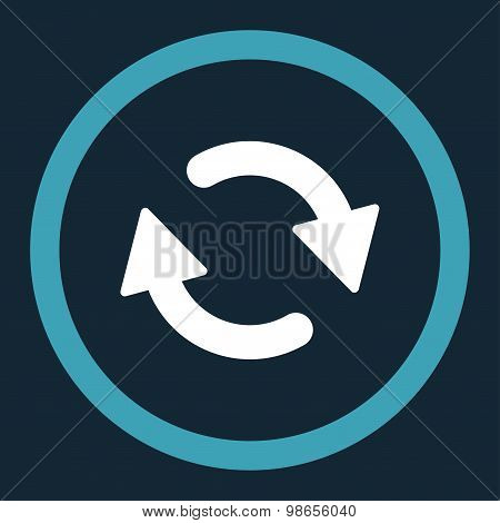 Refresh flat blue and white colors rounded raster icon