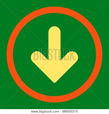 Arrow Down flat orange and yellow colors rounded raster icon