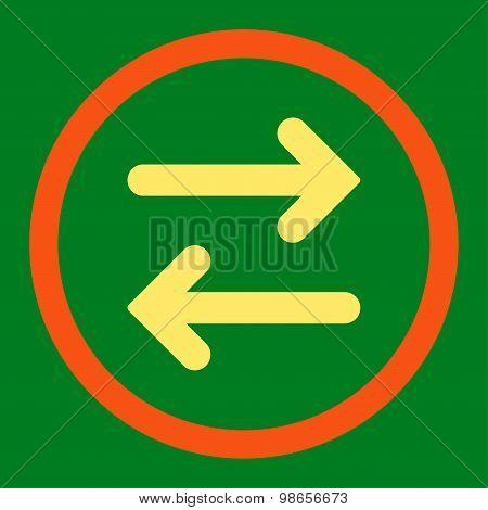 Flip Horizontal flat orange and yellow colors rounded raster icon