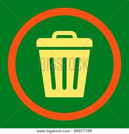 Trash Can flat orange and yellow colors rounded raster icon