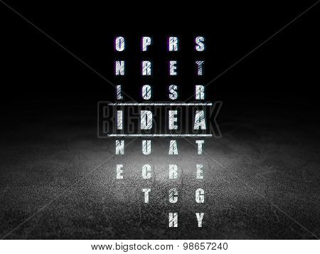 Marketing concept: word Idea in solving Crossword Puzzle