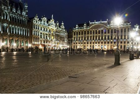 Brussels Main Square And City Hall At Night