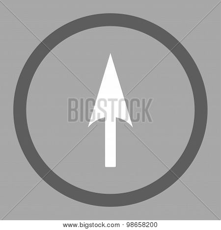 Arrow Axis Y flat dark gray and white colors rounded raster icon