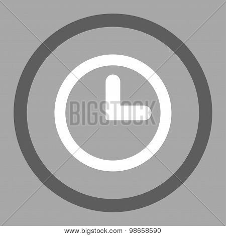 Clock flat dark gray and white colors rounded raster icon