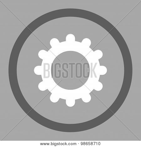 Gear flat dark gray and white colors rounded raster icon