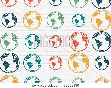 Science concept: Globe icons on wall background