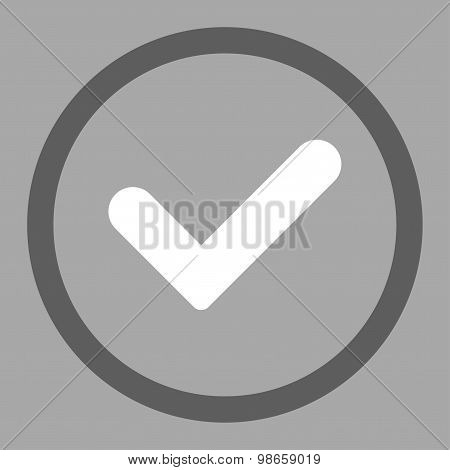 Yes flat dark gray and white colors rounded raster icon