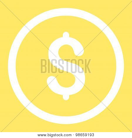 Dollar flat white color rounded raster icon