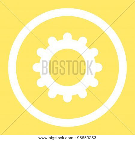 Gear flat white color rounded raster icon