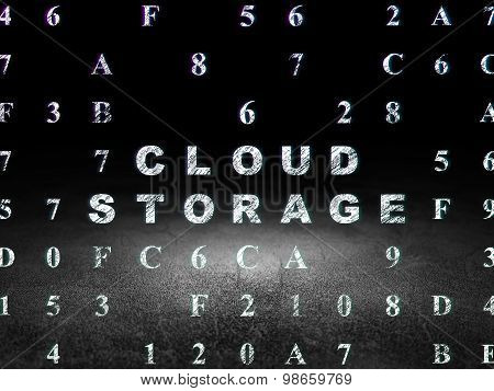 Cloud computing concept: Cloud Storage in grunge dark room