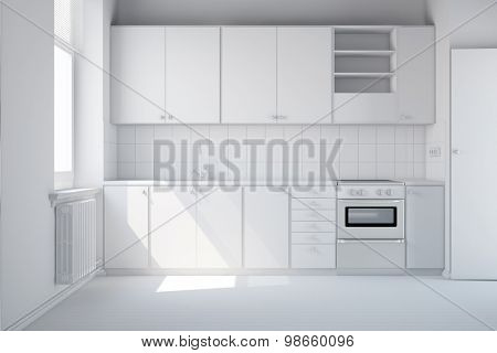 Empty clean white kitchen with new kitchenette (3D Rendering)