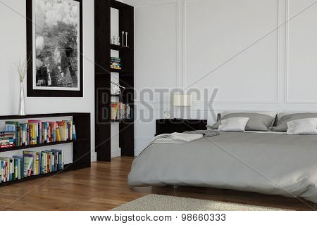Interior design of bedroom with double bed and bookshelves (3D Rendering)