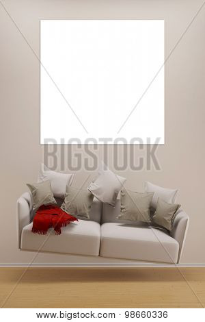 Empty square canvas on wall over a flying sofa in a living room (3D Rendering)