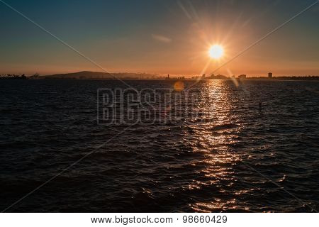Beach Sunset At Long Beach California
