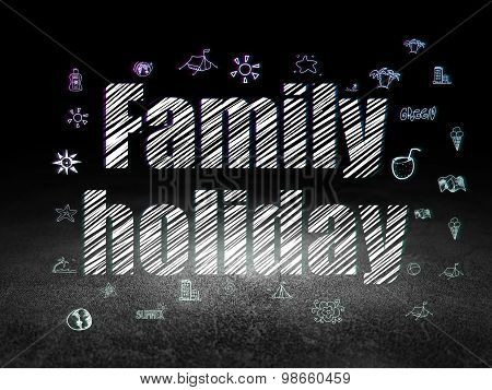 Tourism concept: Family Holiday in grunge dark room