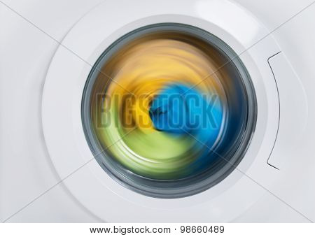 Washing Machine Door With Clothes